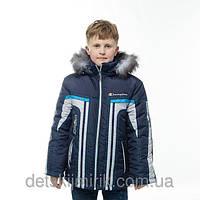 """Зимняя подростковая куртка для мальчика """"Супер Чемпион"""" (Синий+Серый+Голубой)"""