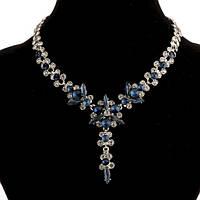 Колье Синие Цветы (кристаллы, цвет металла -серебро)
