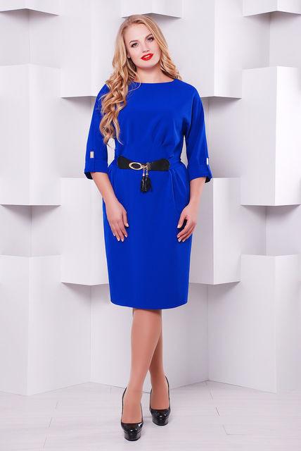 Женское нарядное коктейльное платье Тэйлор цвет электрик размер 52-58 / батальное