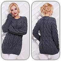 Женский стильный вязанный свитер с узором коса (6 цветов)