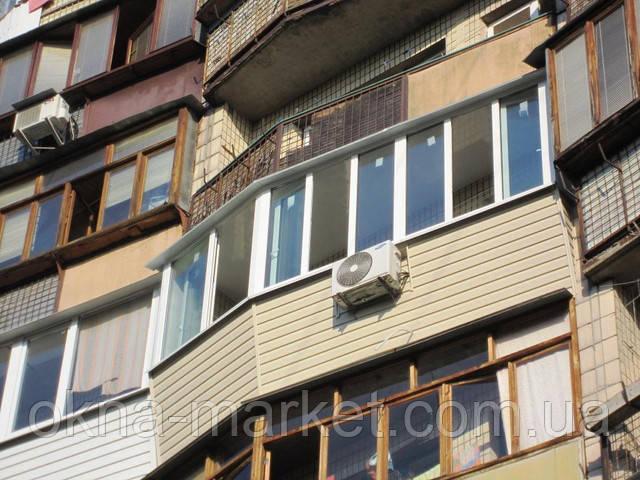 Остекление и обшивка балкона сайдингом, оконная компания Окна Маркет