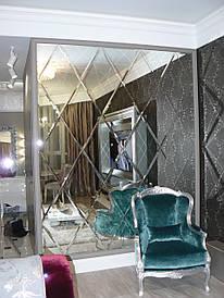 Украшение интерьера  зеркальным панно на заказ с монтажом