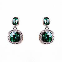 Серьги с зеленым камнем в оправе со стразами, фото 1