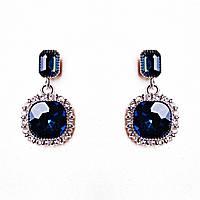 Серьги с синим  камнем в оправе со стразами, фото 1