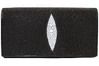 Женский кошелёк из натуральной кожи ската, цвет черный, фото 1