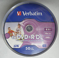Диски DVD+R Verbatim 8.5Gb Double Layer 8x Cake 50 pcs Printable