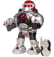 Игрушка робот на радиоуправлении М 0465: 30 см, свет, звук, стреляет дисками, пульт ДУ, 21х14х32 см