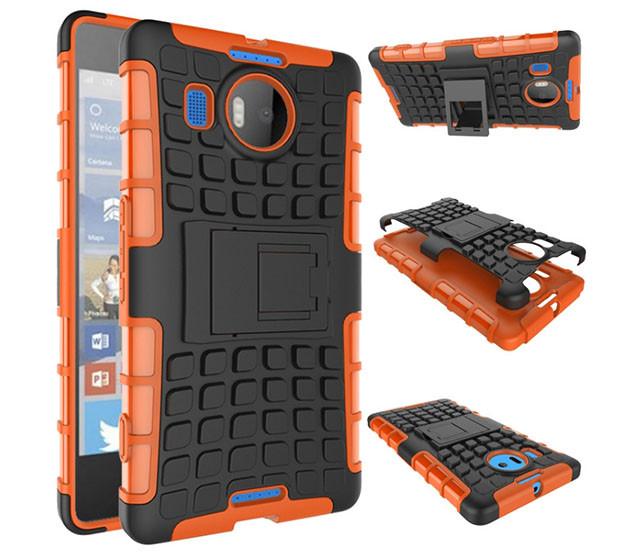 Бронированный чехол для  Microsoft (Nokia) Lumia 950 XL Пластик, Подставка, Microsoft Lumia, Оранжевый
