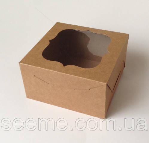 Коробка із крафт картону з віконцем 180х180х100 мм.