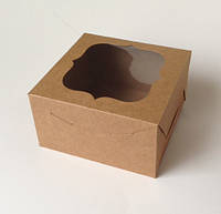 Коробка из крафт картона с окошком 180х180х100 мм., фото 1