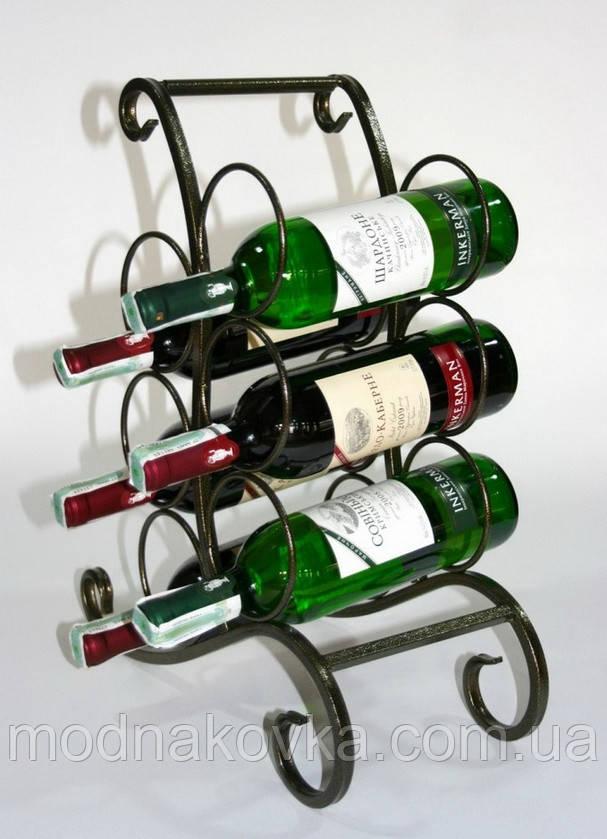 Кованая подставка для вина №604 черная/золото