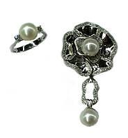 Золотое кольцо,кулон с жемчугом , бриллиантом