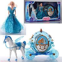 Кукла с каретой и лошадью 219A: лошадь 30 см, ходит, машет крыльями, карета 36 см, свет, 60х20х33 см
