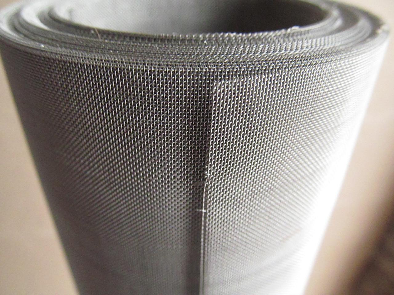 Сетка тканая из нержавеющей проволоки. Ячейка: 0,2мм, Проволока: 0,13мм, Ширина 1м.