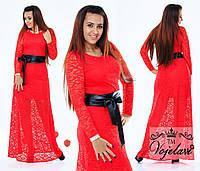 Шикарное красное  гипюровое платье с поясом из эко-кожи.  Арт-9356/41