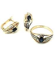 Золотое кольцо,серьги с бриллиантом, сапфиром