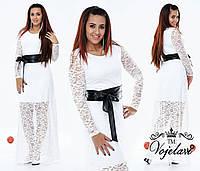 Шикарное белое  гипюровое платье с поясом из эко-кожи.  Арт-9356/41