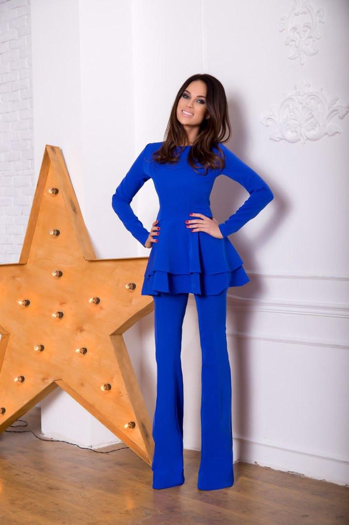 efdc636567c Брючный женский костюм с баской в синем цвете - eleganza.com.ua в Одессе
