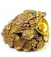 Статуэтка Жаба каменная крошка с монетой и чашей богатства (16х13х12 см)