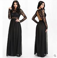 Длинное вечернее платье с вырезом на спине и длинными рукавами