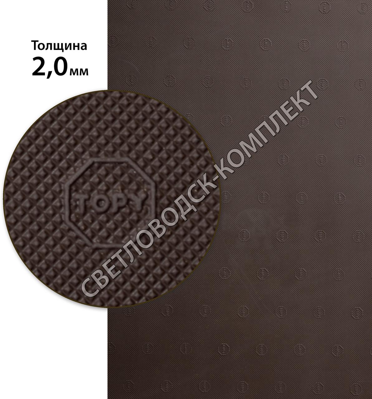 «Эластичка» рисунок «ТОРY» (Китай), р. 400*600*2.0 мм, цв. коричневый - резина подметочная/профилактика