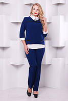 Женский брючный костюм цвет синий размер 48-54