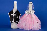 """Украшение на шампанское """"Жених и Невеста"""" розовый"""