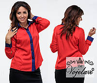 Модная красная батальная шелковая блузка. Арт-9359/41
