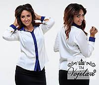 Модная белая  батальная шелковая блузка. Арт-9359/41