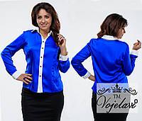 Модная   батальная шелковая блузка, цвет электрик. Арт-9359/41