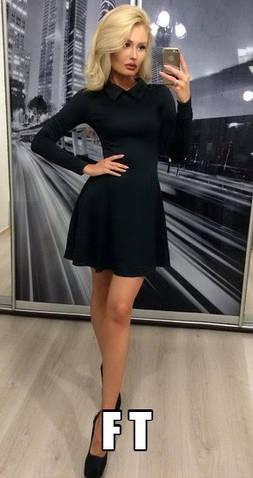 Женское платье, французский трикотаж, р-р 42-44; 44-46 (чёрный)