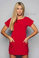 Платье-туника трикотажное с карманми красного цвета
