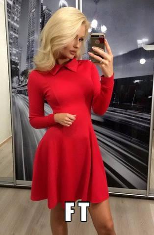 Женское платье, французский трикотаж, р-р 42-44; 44-46 (красный)