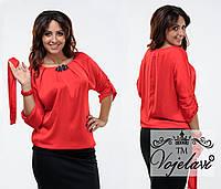 Стильная красная  шелковая блузка батал с брошью, пояс в комплекте. Арт-9360/41