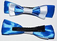 Уточка для волос, бант атлас, белый с синим (2 шт) 11_9_52a5