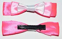 Уточка для волос, бант атлас, белый с розовым (2 шт) 11_9_52a4