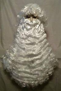 Парик и борода Деда Мороза, цвет снежно-белый