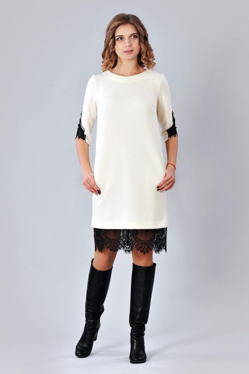 Трикотажное платье с кружевом фото