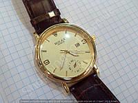 Часы Rolex B85 мужские золотистые на коричневом ремешке из кожзама кварцевые с календарем диаметр 43 мм