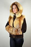 Замшевая куртка с мехом лисы, коричнево-рыжая