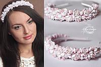 """Свадебный обруч/веночек с цветами """"Бело-розовый жасмин"""""""