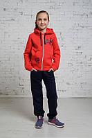 Тёплый спортивный костюм для девочек, с коралловой кофтой и тёмно синими штанами