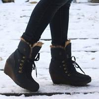 Ботинки женские утепленные с отворотом