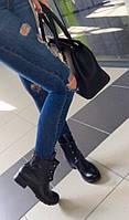 Теплые женские зимние ботинки Hermès натуральная кожа, внутри овчина. Цвет черный