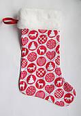 Новорічний Різдвяний чобіток для подарунків на камін подарункова упаковка новорічна