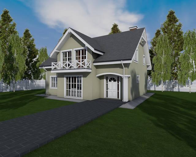 Фасад здания. Проект дома с балконом и мансардным этажом MS146.