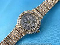 Часы King Girl 114450 женские золотистые круглые на золотистом циферблате в стразах диаметр 24 мм