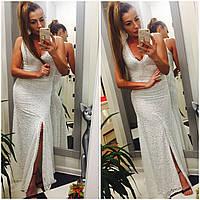 женское белое длинное платье   в пол
