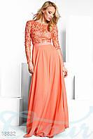 Вечернее вышитое платье. Цвет персиковый.
