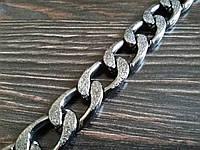 Цепь декоративная метражная металл №20 ширина 12мм цвет темный никель